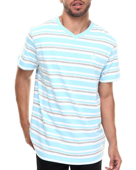 Akademiks - Men Light Blue Amboy Stripe V-Neck S/S Tee