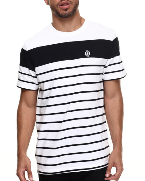 Akademiks - Men White Alden Stripe Logo S/S Tee - $18.99