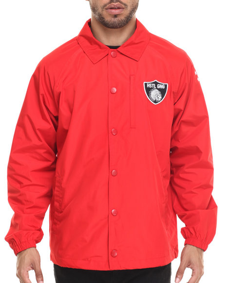 Hustle Gang - Men Red Head Chief Coach Jacket