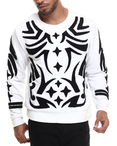 Waimea - Men White Tribal Chenille Sweatshirt