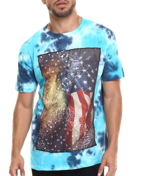 Buyers Picks - Men Navy,Turquoise American Gangster Acid Wash S/S Tee