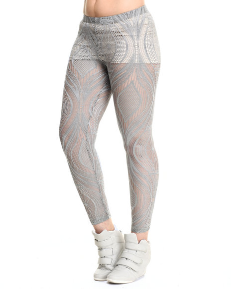 Ur-ID 215764 Vertigo - Women Grey Allover Lace Stretch Legging