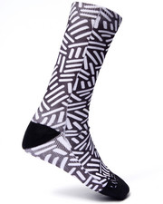Men - Black & White design Crew Socks