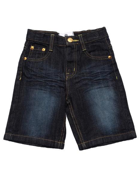 Akademiks - Boys Dark Wash Embroidered Pocket Shorts (2T-4T)