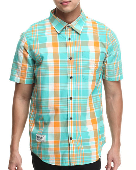 Ur-ID 215771 LRG - Men Green,Orange Franco Hova S/S Button-Down
