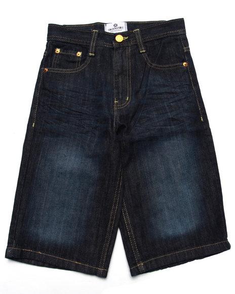 Akademiks - Boys Dark Wash Embroidered Pocket Shorts (8-20)