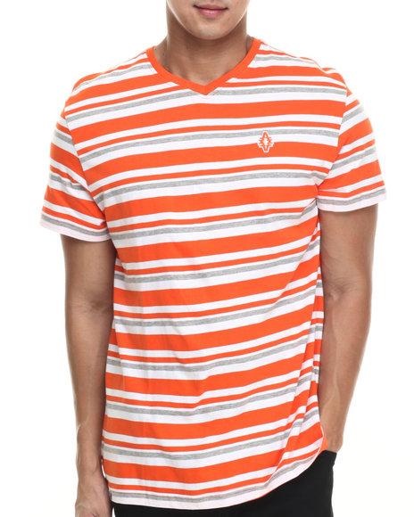 Ur-ID 215843 Akademiks - Men Orange Amboy Stripe V-Neck S/S Tee