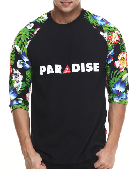 Asphalt Yacht Club - Men Black Paradise Lost Raglan Tee - $39.00