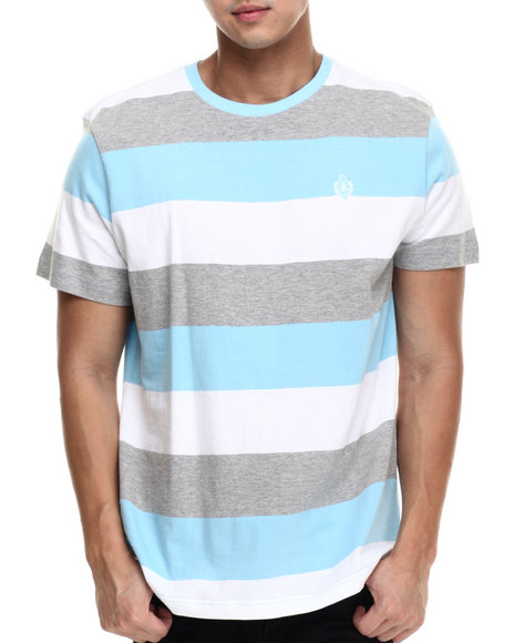 Akademiks - Men Light Blue Andes Stripe S/S Tee