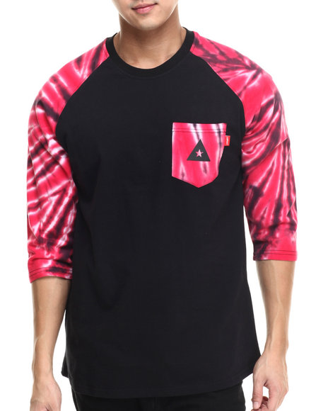 Asphalt Yacht Club - Men Black,Red Starburst Pocket Raglan Tee
