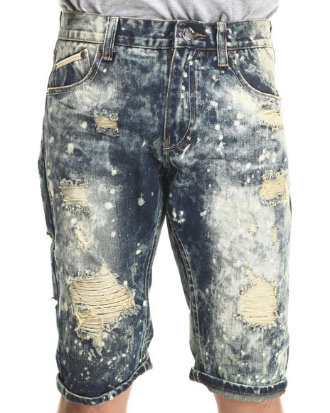 Heritage America - Men White Distressed Denim Shorts - $68.00