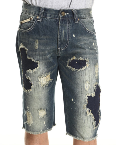 Heritage America - Men Medium Wash Distressed Denim Shorts - $58.99