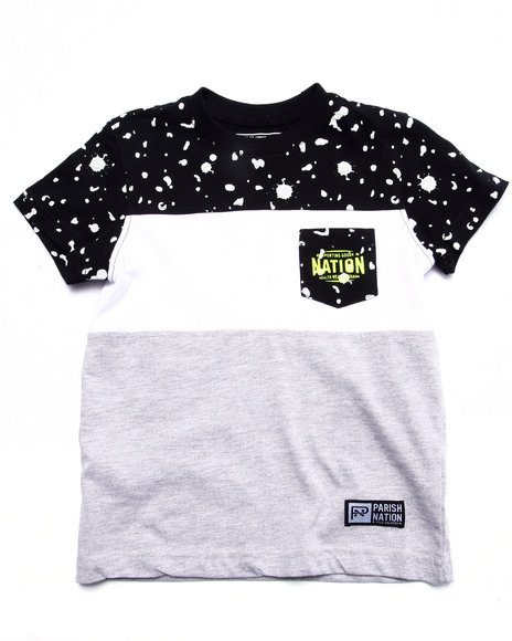 Parish - Boys Grey Texture Printed Pocket Tee (4-7)
