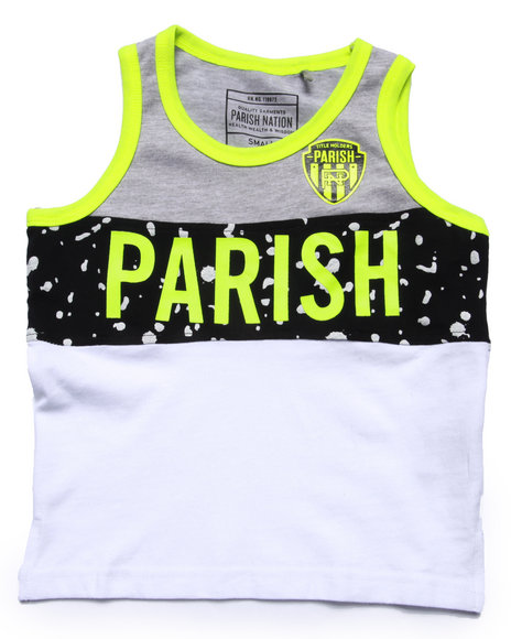 Parish - Boys White Texture Logo Tank (4-7)