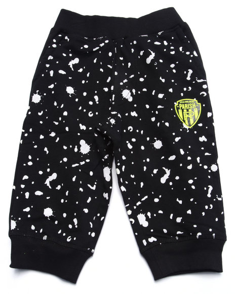 Parish - Boys Black All Over Print Cropped Jogger Shorts (4-7)