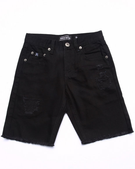 Parish - Boys Black Distressed Twill Shorts (8-20) - $23.99