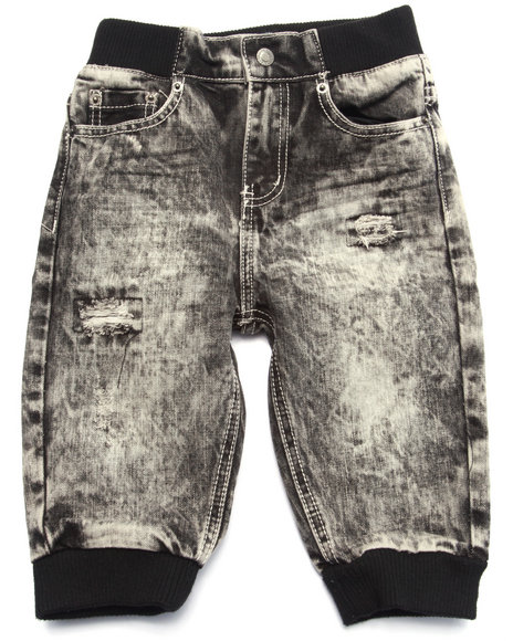 Parish - Boys Black Acid Wash Cropped Jogger (4-7)