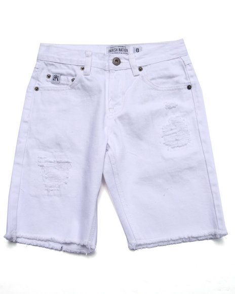 Parish - Boys White Distressed Twill Shorts (8-20)