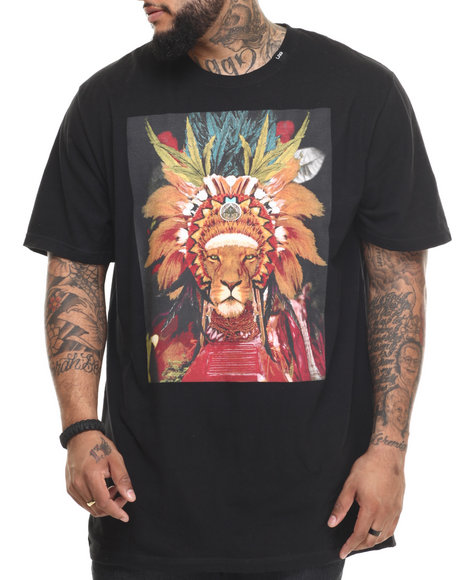 Lrg - Men Black Lion Chief T-Shirt (B&T)