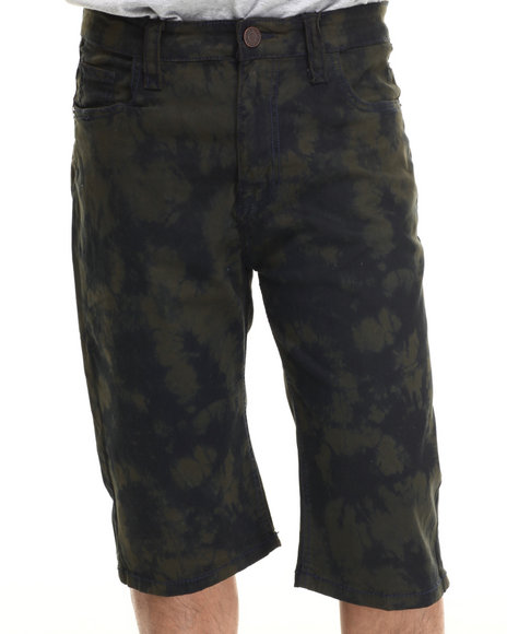 Buyers Picks - Men Olive,Olive Tie - Dyed Twill Shorts