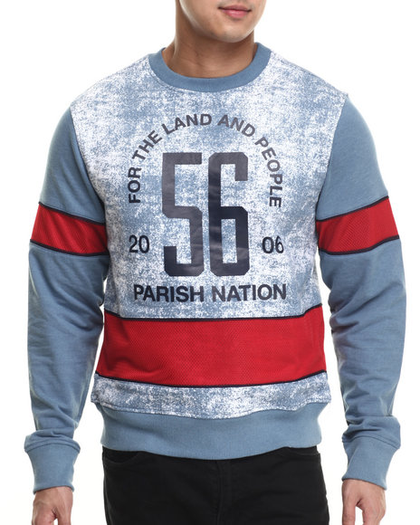 Ur-ID 215930 Parish - Men Blue Printed Indigo Sweatshirt