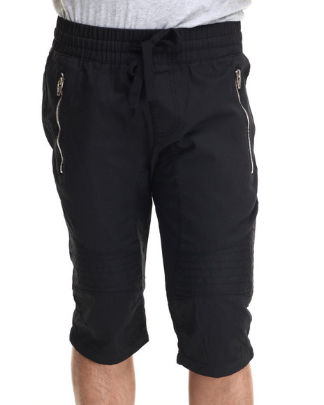 Buyers Picks - Men Black Wax Coated Biker Jogger Short
