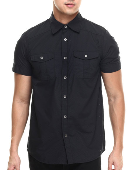 Buyers Picks - Men Black 2-Pocket Perforated Poplin S/S Button Down Shirt