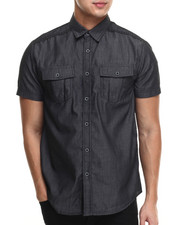 Shirts - Santos Fauth Leather Trim S/S Button Down Shirt