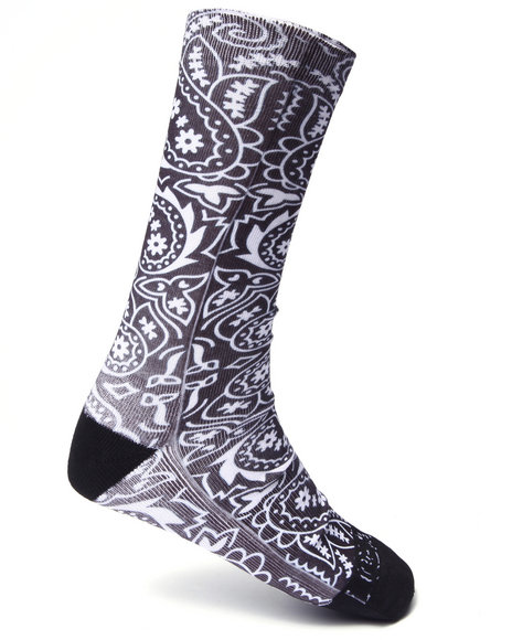 Buyers Picks Men Bandana Crew Socks Black - $8.99