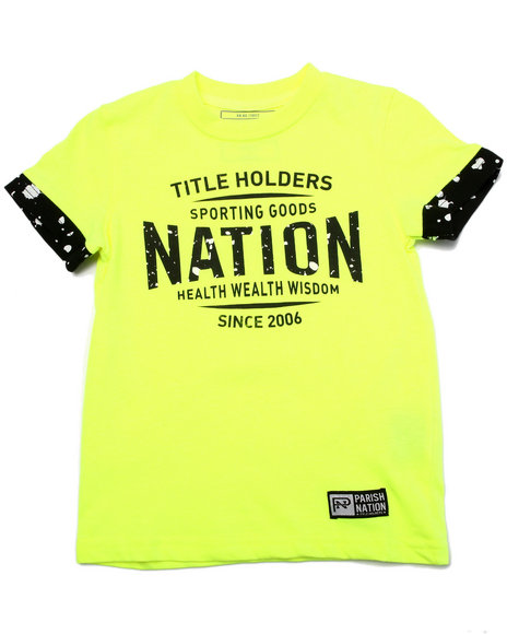 Parish - Boys Yellow Textured Logo Tee (4-7) - $12.99