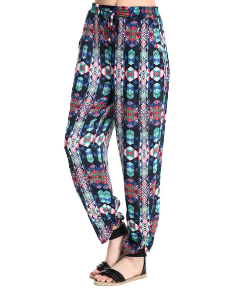 Vertigo - Women Multi Prismatic Print Tie Waist Soft Harem Pant