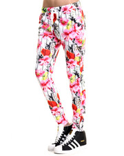 Pants - Tropical Pintstripe Printed Pocketed Jogger