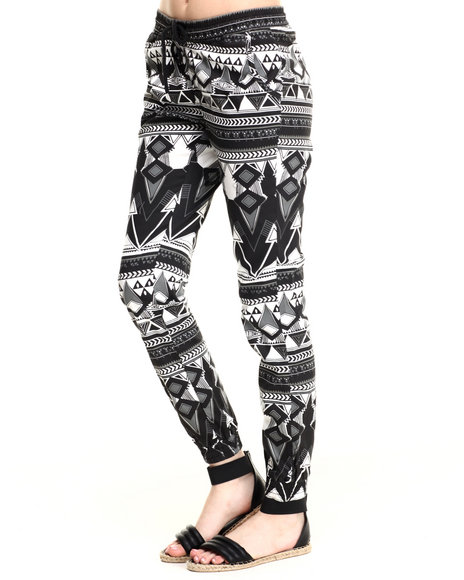 Soho Babe - Women Black Tribal Print Jogger