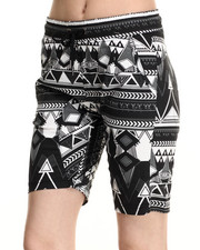 Shorts - Tribal Print Twill Cropped Jogger Short