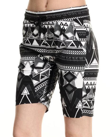 Ur-ID 216026 SOHO BABE - Women Black Tribal Print Twill Cropped Jogger Short