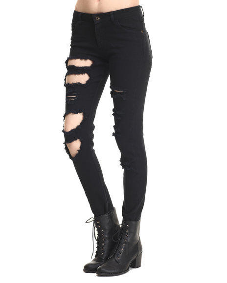Soho Babe - Women Black Heavy Rips 5 Pocket Skinny Jean