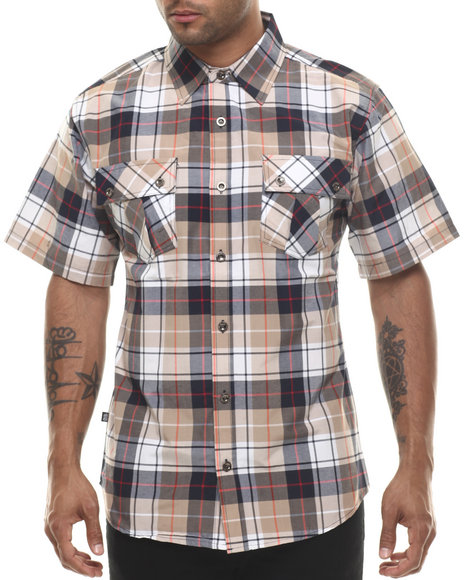 Ur-ID 216064 Miskeen - Men Khaki Sean Plaid Double Pocket S/S Button Down Shirt