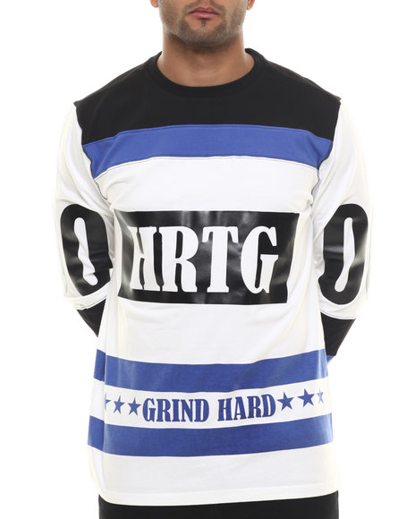 Heritage America - Men White Grind Hard Hockey Jersey L/S Tee