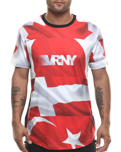 V R N Y - Men Red V R / N Y Nations Elongated S/S Top - $36.99