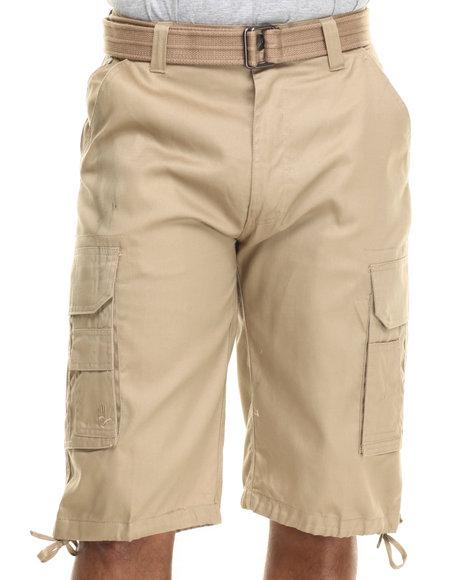 Ur-ID 216048 Miskeen - Men Khaki Core Twill Belted Cargo Shorts
