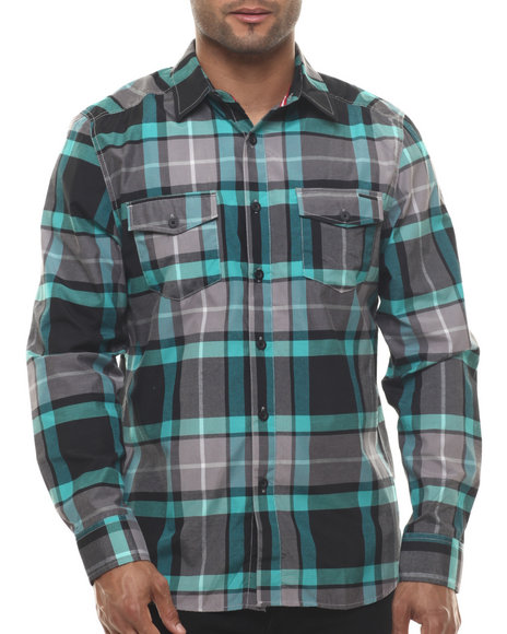 Ur-ID 216062 Ecko - Men Black Oxford Plaid L/S Button-Down
