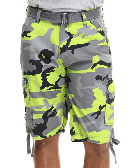 Ur-ID 216071 Buyers Picks - Men Lime Green Washed City Camo Belted Cargo Shorts