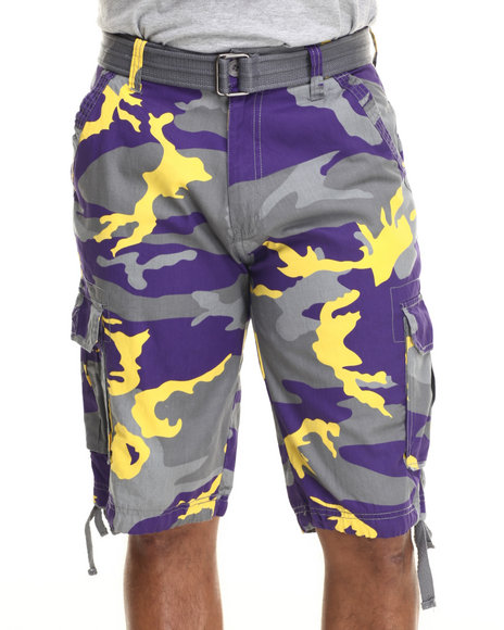 Ur-ID 216074 Buyers Picks - Men Purple Washed City Camo Belted Cargo Shorts