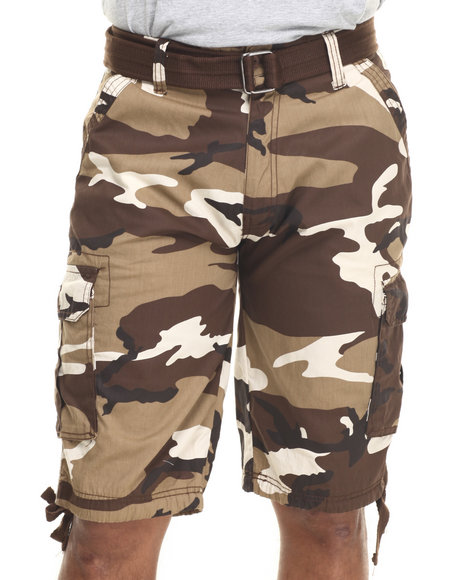 Ur-ID 216076 Buyers Picks - Men Brown Washed City Camo Belted Cargo Shorts