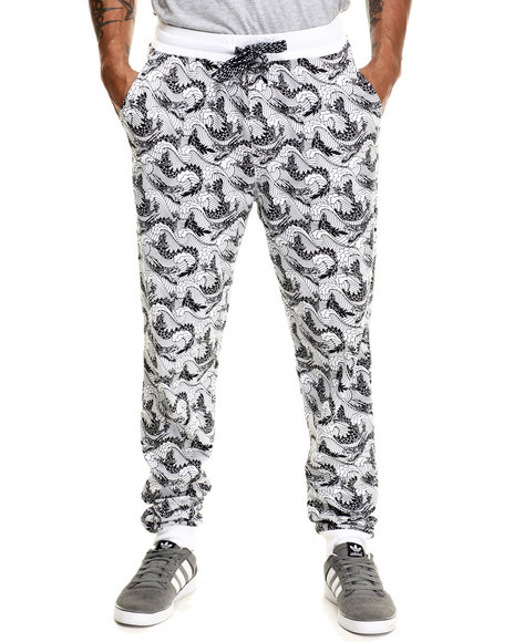 Enyce - Men White Big Wave All Over Print Jogger - $14.99