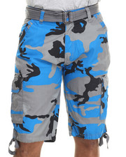 Men - Washed City Camo Belted Cargo Shorts