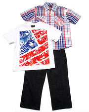 Sets - 3 PC SET - PLAID SHIRT, TEE, & JEANS (4-7)