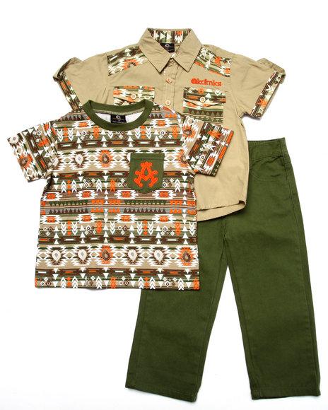 Akademiks - Boys Khaki 3 Pc Set - Aztec Shirt, Tee, & Jeans (2T-4T)