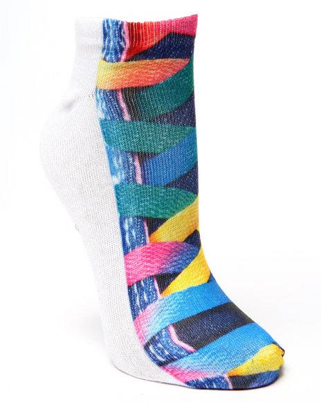 Drj Sock Shop Women Lace-Up Tennies Sublimated Socks Multi