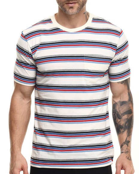 Brixton - Men Cream,Red Hilt S/S Pocket Knit Tee